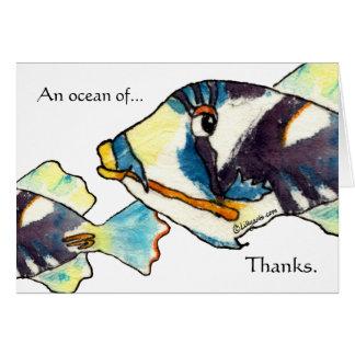 Obrigado havaiano dos peixes dos desenhos animados cartão comemorativo