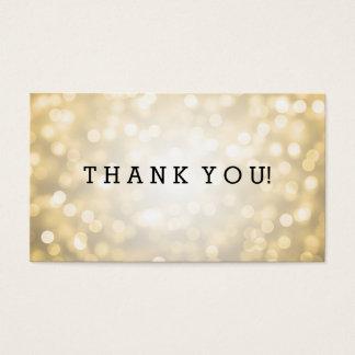 Obrigado introduz luzes do brilho do ouro cartão de visitas