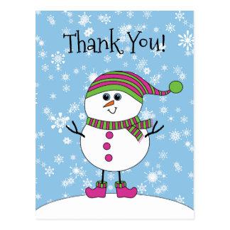 Obrigado irrisório do boneco de neve do inverno cartão postal