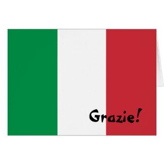 Obrigado italiano da bandeira você cartão de nota