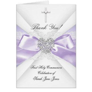 Obrigado lavanda do comunhão santamente da menina cartão de nota