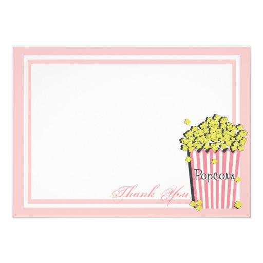 Obrigado liso cor-de-rosa do cartão da pipoca você convites personalizados