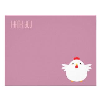 Obrigado liso da galinha dos desenhos animados convite personalizado