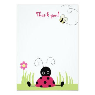 Obrigado liso do joaninha pequeno você cartões de convite 12.7 x 17.78cm