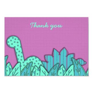Obrigado liso do tema bonito do dinossauro você convite 8.89 x 12.7cm