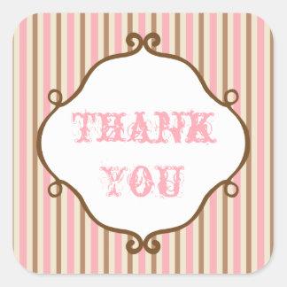 Obrigado listrado cor-de-rosa do vintage você adesivo quadrado
