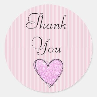"""""""Obrigado listrado cor-de-rosa você"""" etiquetas"""