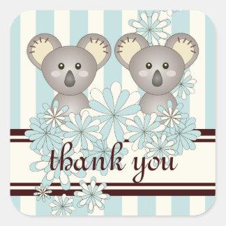 Obrigado listrado do Koala azul Pastel gêmeo Adesivo Quadrado