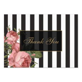 Obrigado listrado floral do salão de beleza do convite 11.30 x 15.87cm