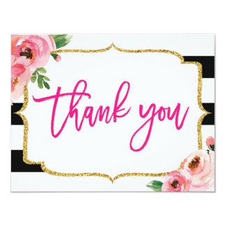 Obrigado listrado floral você cartão de nota
