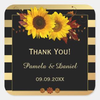 Obrigado listrado ouro do casamento do girassol adesivo quadrado