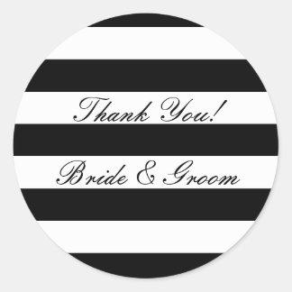 Obrigado listrado preto e branco do casamento você adesivo