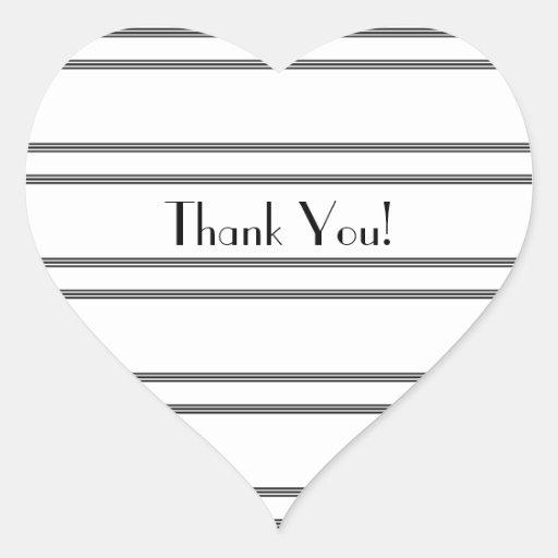 Obrigado listras, do preto & do branco, etiqueta adesivos em forma de corações