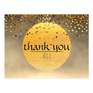 Obrigado lua do por do sol do brilho dos confetes cartão postal
