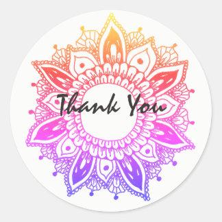 Obrigado mandala artística colorida adesivo redondo