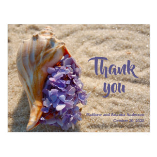 Obrigado mar Shell e cartão do Hydrangea