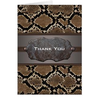 Obrigado masculino de couro do cobra você cartão
