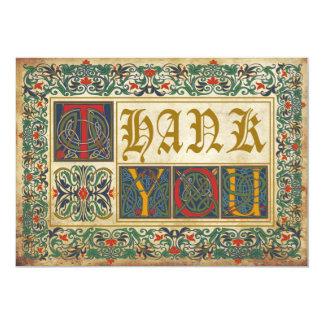 Obrigado medieval do gótico do manuscrito você convite 12.7 x 17.78cm
