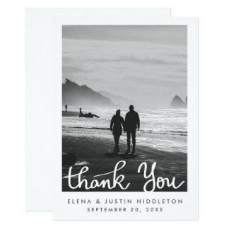 Obrigado mínimo simples do casamento você foto da convite 12.7 x 17.78cm