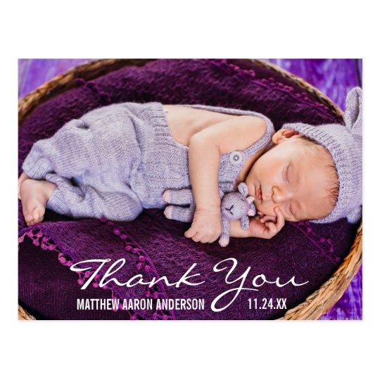 Obrigado moderno da foto do bebê novo você cartão postal