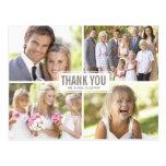 Obrigado moderno do casamento da colagem da foto v cartoes postais