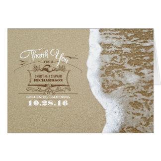 Obrigado moderno do casamento de praia você cartõe cartão de nota