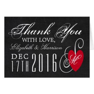 Obrigado moderno do casamento do coração do rico cartão de nota