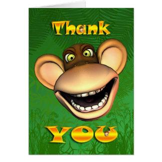 Obrigado monkey a cara, cartão alegre feliz