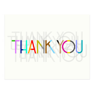 Obrigado multicolorido você cartão da tipografia