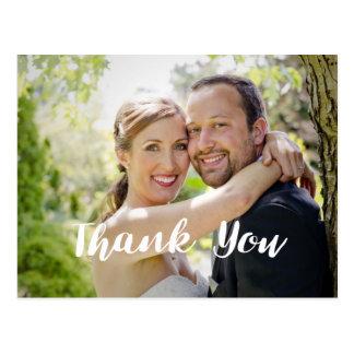Obrigado na moda da foto do casamento você cartão postal