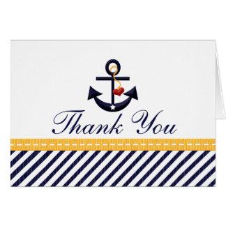 Obrigado náutico da âncora você amarelo dos cartõe cartão de nota