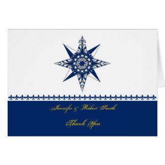 Obrigado náutico do amarelo do marinho do rosa de cartão