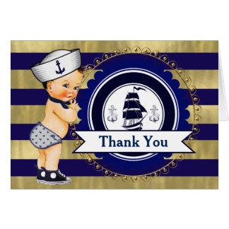 Obrigado náutico do chá de fraldas você cartões