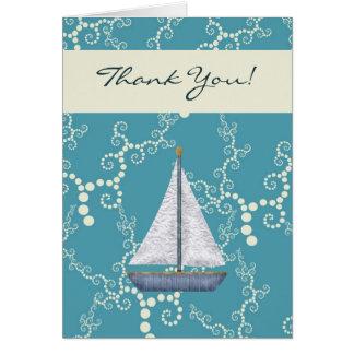 Obrigado náutico do veleiro você cartões