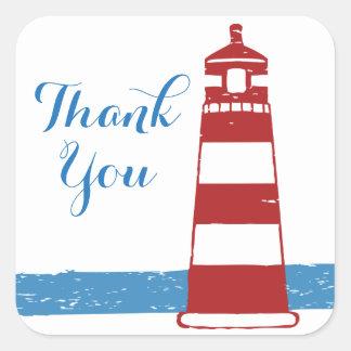 Obrigado náutico você oceano vermelho do azul do adesivo quadrado