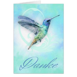 Obrigado no alemão - cartão do colibri da aguarela