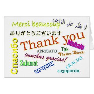 Obrigado no cartão de muitas línguas diferente