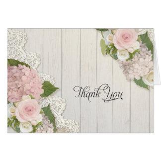 Obrigado nota a madeira floral do laço dos cartão de nota