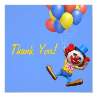 Obrigado! O vôo Balloons o palhaço Thankyou Convite Personalizados