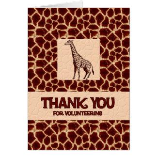 Obrigado oferecendo o impressão do girafa cartão