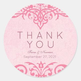 Obrigado ornamentado cor-de-rosa do casamento você adesivo