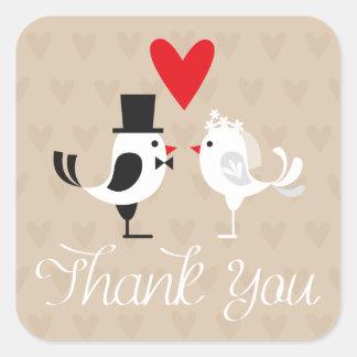 Obrigado os Lovebirds & os corações que Wedding Adesivo Quadrado
