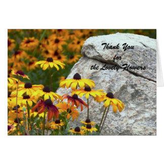 Obrigado para as flores bonitas, flores amarelas cartão