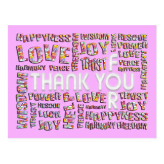 Obrigado para… corações | lightpink cartão postal