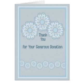 Obrigado para flores do azul do cartão da doação