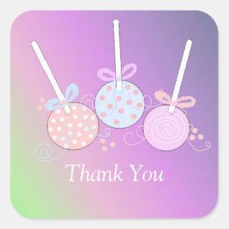 Obrigado Pastel do pop do bolo você Adesivo Quadrado