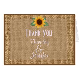 Obrigado personalizado do girassol de serapilheira cartão comemorativo