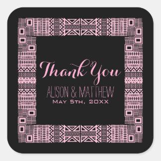 Obrigado personalizado étnico do casamento você adesivo quadrado
