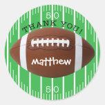 Obrigado personalizado você etiqueta do futebol adesivo redondo