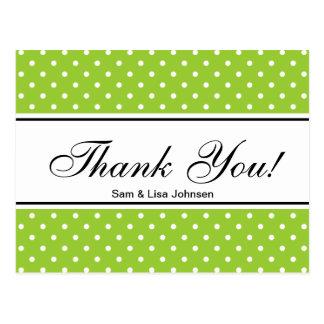 Obrigado polkadots verde-maçã dos cartão |